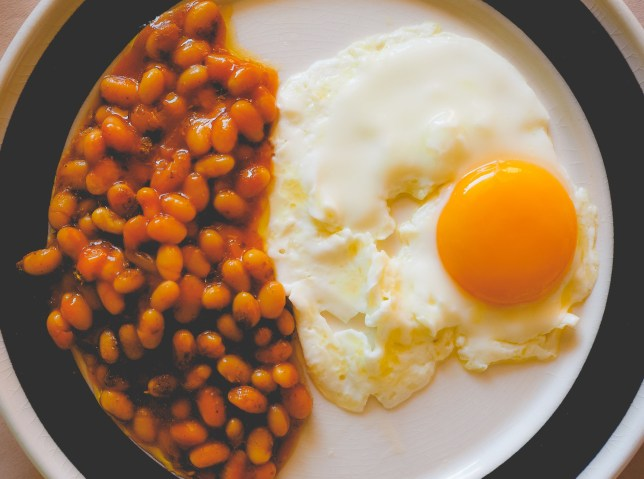 Beans and a fried egg