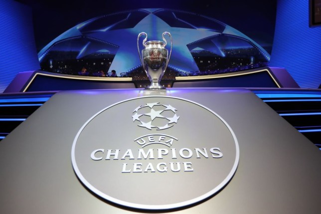 TOPSHOT - The Champions League Trophy stands on display during the UEFA Champions League football group stage draw ceremony in Monaco on August 24, 2017.  / AFP PHOTO / VALERY HACHE        (Photo credit should read VALERY HACHE/AFP via Getty Images)