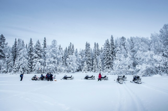people on snowmobiles in Luleå, the largest city in Swedish Lapland