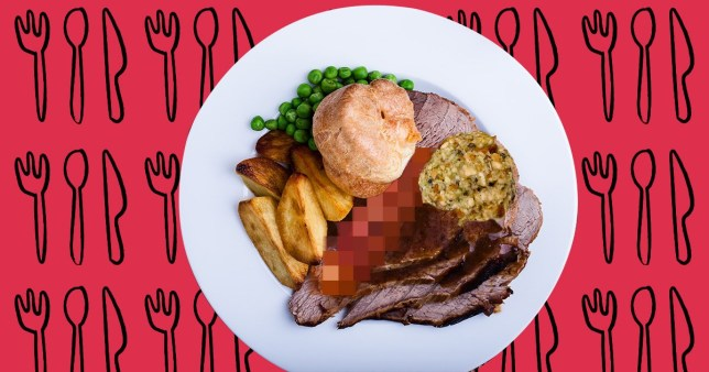 A close-up of a Sunday roast with a blurred out carrot