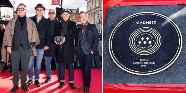 The members of Madness and their stone on Camden's Music Walk Of Fame