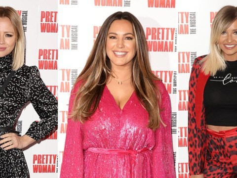 Kelly Brook sparkles in sequins alongside Jeremy Parisi, as Kimberley Walsh and Amy Hart go glam for Pretty Woman's opening night