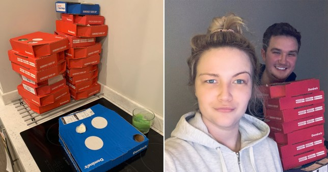 huge Domino's order next to picture of drunk man who ordered it, with his girlfriend next to him not looking happy