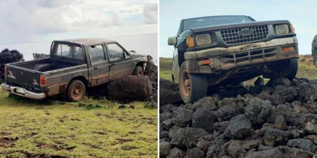 Sacred Easter Island head statue knocked over after truck crashes into it