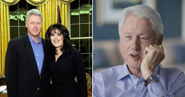 Caption: Bill Clinton says he had oral sex from Monika Lewinsky to relieve pressure of job