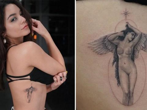 Vanessa Hudgens shows off stunning new 'divine feminine angel' tattoo on her ribs