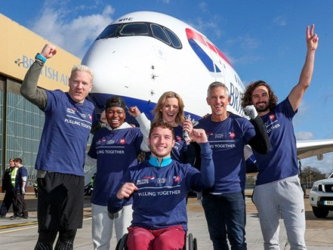 Gabby Logan and Gary Lineker smash Guinness World Record as they pull 183 tonne plane for Sport Relief