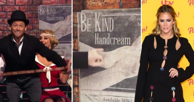 Joe Swash and Alex Murphy, the Be Kind poster, and Caroline Flack