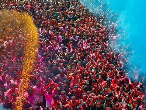 Explosion of colour at vibrant Holi festival celebrations