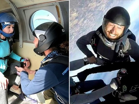Daredevil proposes to girlfriend right before they jump out of a plane together