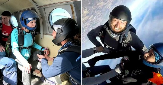 Man proposes before skydiving with fiance