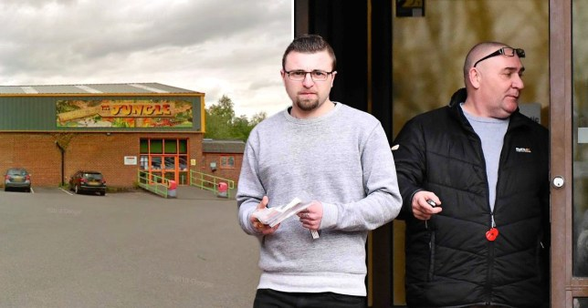 The Jungle Playcentre in Chesterfield, Derbyshire (left) and father and son Kyle and Neil Busfield outside Derby Crown Court (right)