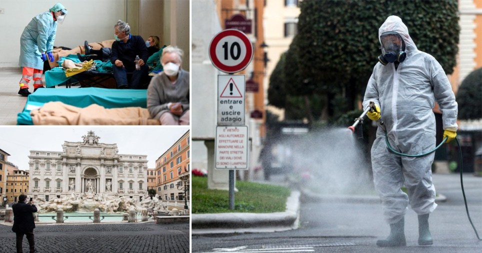 Italian authorities and health workers in the streets amid the coronavirus (Covid-19) outbreak
