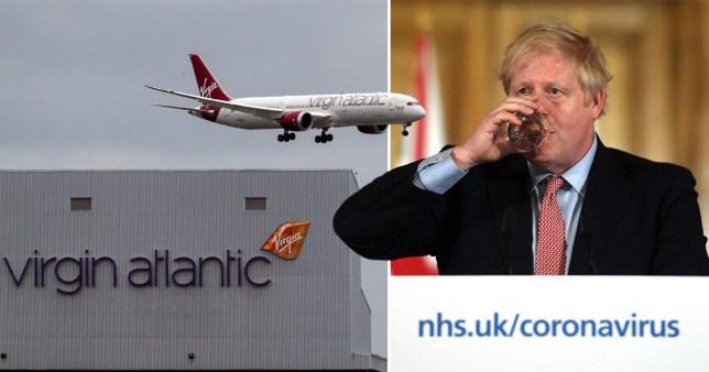 Virgin Atlantic plane (left) and Boris Johnson (right)