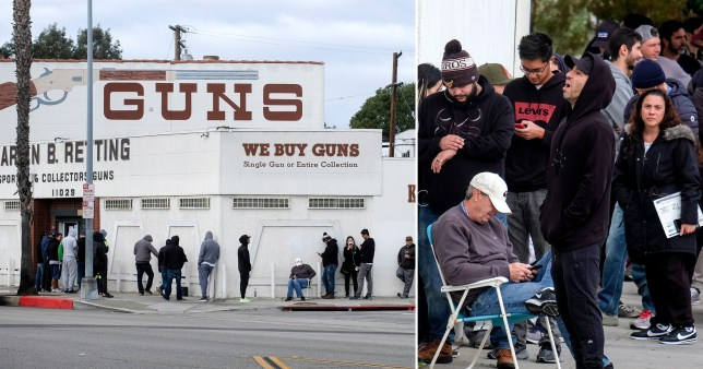 Queues down the street for guns in California