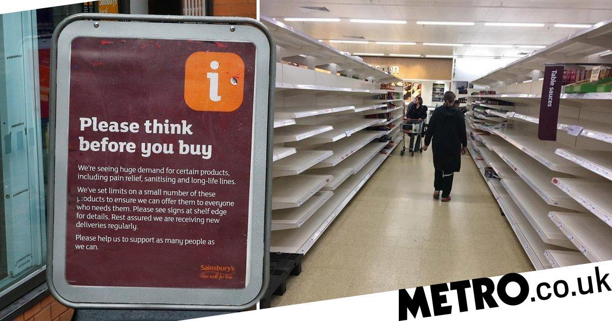 Sainsbury S Ration To Three Items Each To Stop Coronavirus Stockpiling Metro News