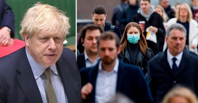 Composite of Boris Johnson and people in crowd, one of whom is wearing a facemask
