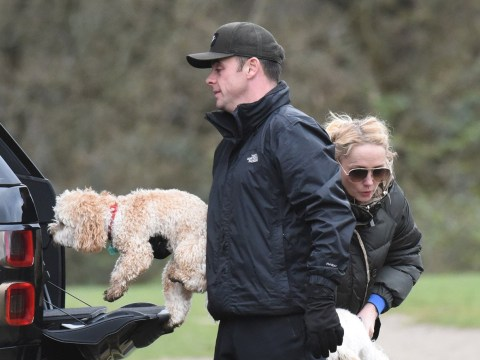 Ant McPartlin looks chill on dog walk with girlfriend Anne-Marie Corbett as Britain's Got Talent live shows look uncertain