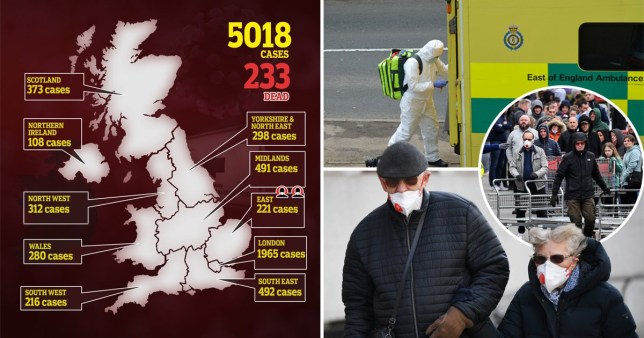 Map of total number of coronavirus cases on March 21, 2020 and pictures of people wearing masks and medical staff