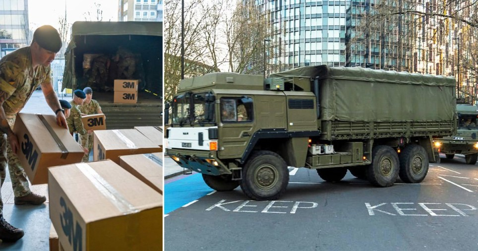 British army soldiers dropping off personal protective equipment at St Thomas' Hospital in London (left) and military truck outside (right)