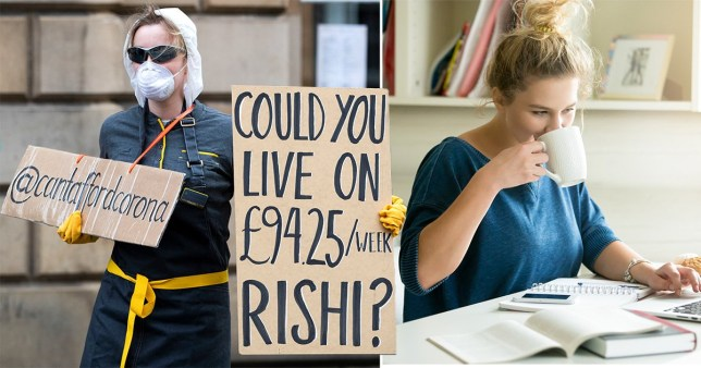Coronavirus protester (left) and person working from home (right)