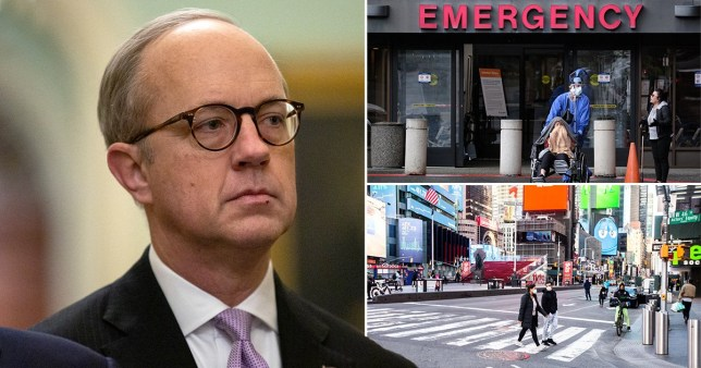 White House aide Eric Euland (left) a picture of an American hospital entrance (top right) and a noticeably quieter Times Square (bottom right) amid the US coronavirus outbreak