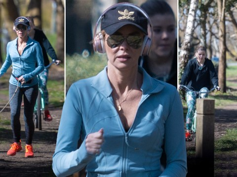 Amanda Holden takes daughter Lexi and dog Rudie out for what should be her first and only run of the day