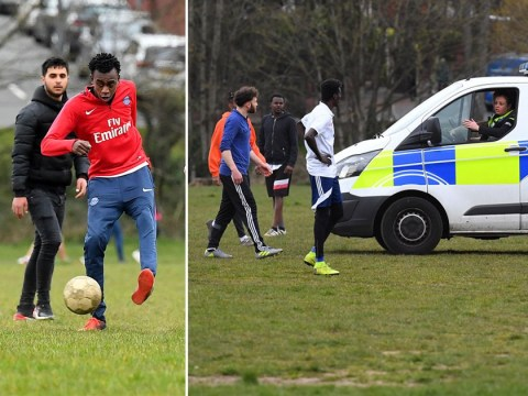 Friends playing football sent home by police for ignoring social distancing