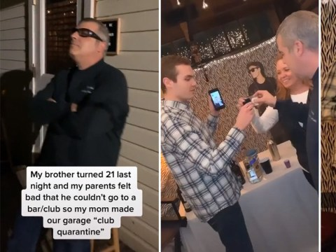 Parents turn garage into 'Club Quarantine' for son's 21st birthday