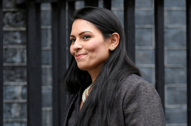 FILE PHOTO: Priti Patel arrives at Downing Street in London, Britain February 13, 2020. REUTERS/Toby Melville/File Photo
