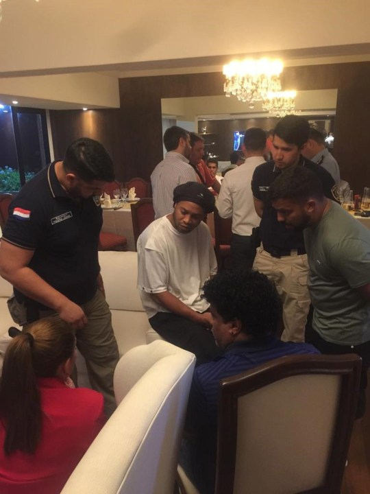 Ronaldinho was quizzed by police at his hotel in Paraguay