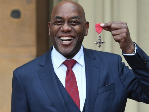 Ainsley Harriott cracks jokes with Prince Charles as he's awarded MBE at Buckingham Palace