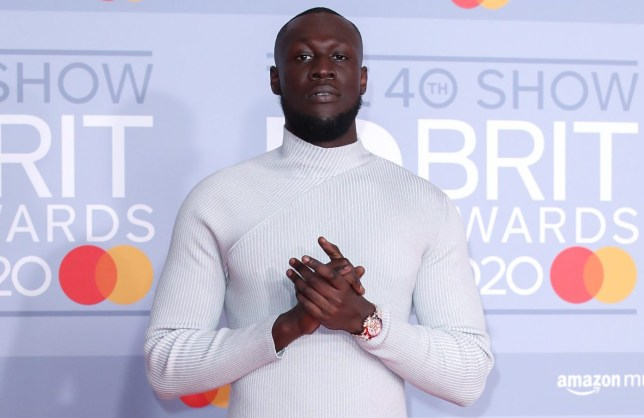 LONDON, ENGLAND - FEBRUARY 18: (EDITORIAL USE ONLY) Stormzy attends The BRIT Awards 2020 at The O2 Arena on February 18, 2020 in London, England. (Photo by Mike Marsland/WireImage)