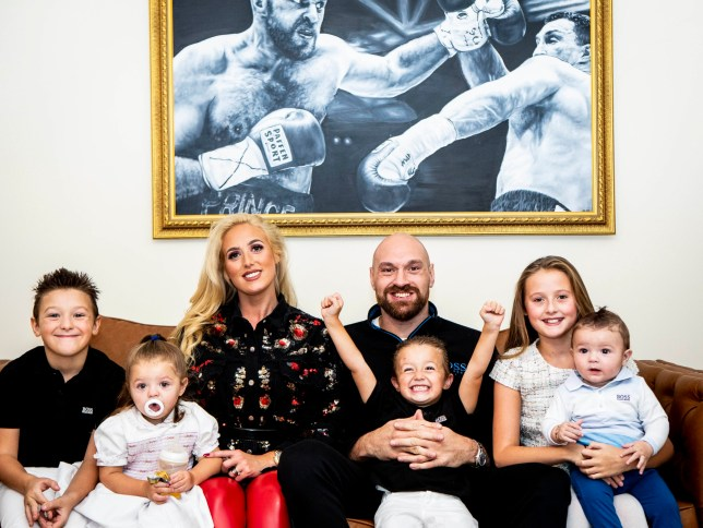 Tyson Fury with his wife Paris and his five children