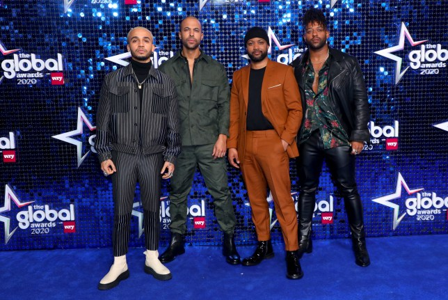 (left to right) Aston Merrygold, Marvin Humes, JB Gill and Oritse Williams of JLS attend The Global Awards 2020 with Very.co.uk at London's Eventim Apollo Hammersmith. PA Photo. Picture date: Thursday March 5, 2020. Photo credit should read: Lia Toby/PA Wire
