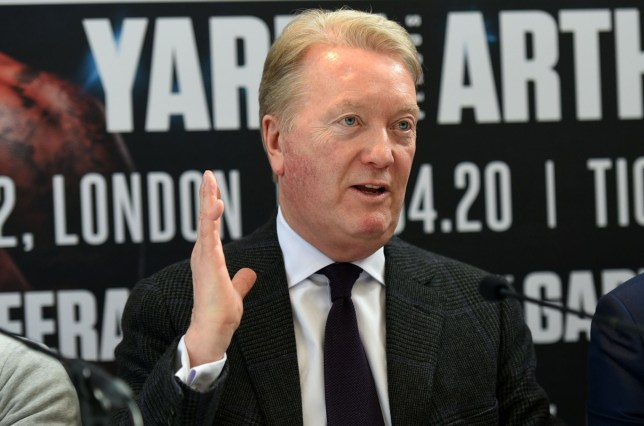 Frank Warren speaks to the media at a boxing press conference