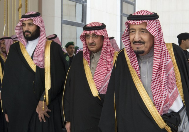 RIYADH, SAUDI ARABIA - DECEMBER 14 : King of Saudi Arabia Salman bin Abdulaziz (R), Saudi defence minister and Deputy Crown Prince Mohammed bin Salman (L) and Deputy Crown Prince and the Minister of Interior of Saudi Arabia Muhammad bin Nayef (C) attend an opening ceremony of new Shura Council in Riyadh, Saudi Arabia on December 14, 2016. (Photo by Bandar Algaloud / Saudi Royal Council / Handout/Anadolu Agency/Getty Images)