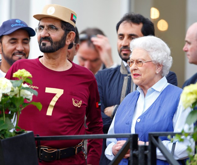 WINDSOR, UNITED KINGDOM - MAY 16: (EMBARGOED FOR PUBLICATION IN UK NEWSPAPERS UNTIL 48 HOURS AFTER CREATE DATE AND TIME) Sheikh Mohammed bin Rashid Al Maktoum and Queen Elizabeth II attend the Royal Windsor Endurance event on day 3 of the Royal Windsor Horse Show in Windsor Great Park on May 16, 2014 in Windsor, England. (Photo by Max Mumby/Indigo/Getty Images)