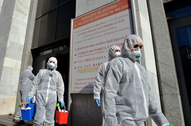 BGUK_1893074 - Milan, UNITED KINGDOM - Pictures of sanitary measures taken against the Coronavirus outbreak in the Palace of Justice Court in Milan, Italy. Pictured: GV, General View BACKGRID UK 7 MARCH 2020 BYLINE MUST READ: IPA / BACKGRID UK: +44 208 344 2007 / uksales@backgrid.com USA: +1 310 798 9111 / usasales@backgrid.com *UK Clients - Pictures Containing Children Please Pixelate Face Prior To Publication*