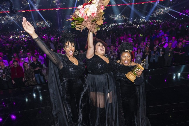 STOCKHOLM, SWEDEN - MARCH 07: Dinah Yonas Manna, Loulou Lamotte, and Ashley Haynes, performing as The Mamas win the 2020 Melodifestivalen final with their song Move at Friends Arena on March 7, 2020 in Stockholm, Sweden. The Mamas will go on to represent Sweden at the 2020 Eurovision Song Contest. (Photo by Michael Campanella/Getty Images)
