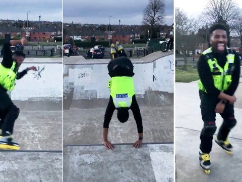 Police officer shows off skate park tricks while out on patrol