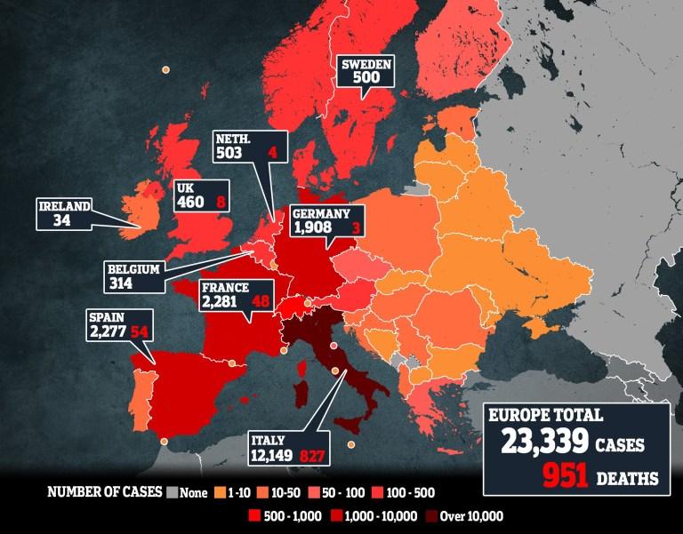 Coronavirus Europe map