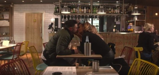 Amy Childs romped with Celebs Go Dating contestant in a restaurant loo