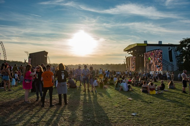 LEEDS, ENGLAND - AUGUST 24: General view of the arena and main stage at Leeds Festival 2019 at Bramham Park on August 24, 2019 in Leeds, England. (Photo by Katja Ogrin/Redferns)