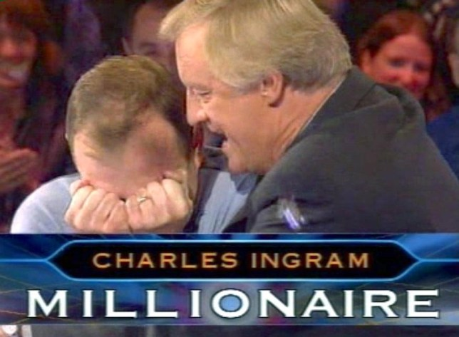 Mandatory Credit: Photo by REX (415425e) CHRIS TARRANT CONGRATULATES CHARLES INGRAM AFTER HE ANSWERS THE ?1MILLION QUESTION MAJOR CHARLES INGRAM ON 'WHO WANTS TO BE A MILLIONAIRE' TV WHERE HE CHEATED, BROADCASTED - 21 APR 2003