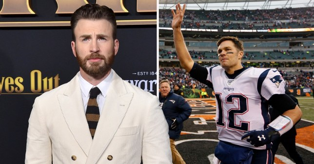 Chris Evans/Tom Brady on the pitch for New England Patriots
