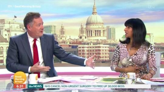 Piers Morgan and Ranvir Singh kept apart on Good Morning Britain