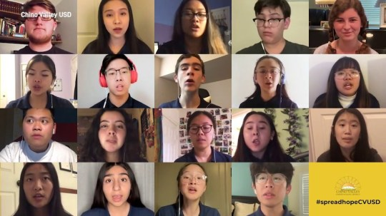 School choir harmonises online remotely when their big show is cancelled due to coronavirus Picture: chino valley school METROGRAB