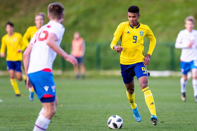Sweden's Emil Roback in action during the European Championship qualifier for Boys U17 between Sweden and the Faroes in Helsingborg