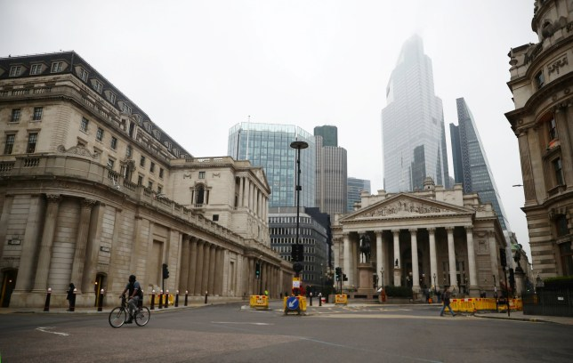 A general view of The Bank of England and the Royal Exchange as the spread of the coronavirus disease (COVID-19) continues, in London, Britain, March 19, 2020. REUTERS/Hannah McKay